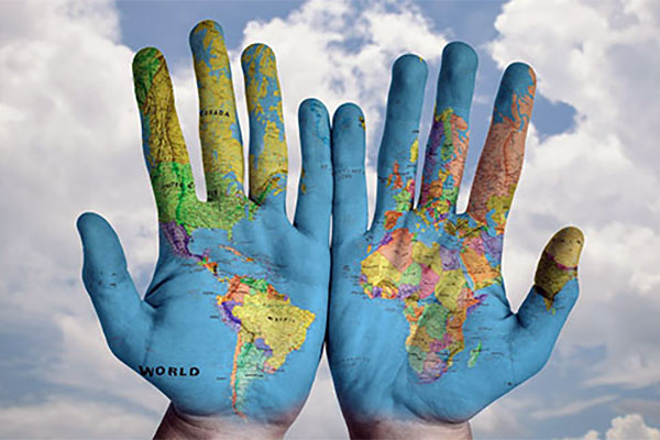 Hands with map